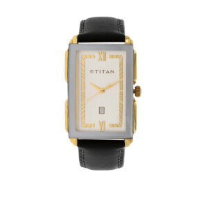 Titan Silver Dial Leather Strap Watch 1485YL01