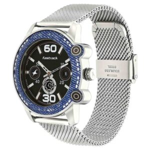 Fastrack Black Dial Silver Stainless Steel Strap Watch 3188KM03