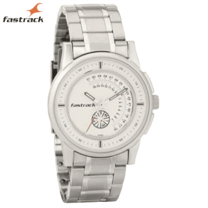 Fastrack – White Dial Analog Watch for Guys with Day and Date function 3215SM01