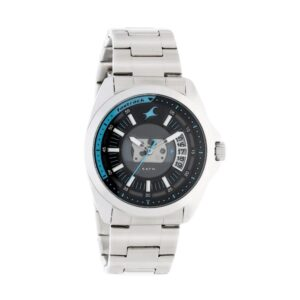 Fastrack Loopholes Watch with Silver Stainless Steel Strap for Guys 38049SM01