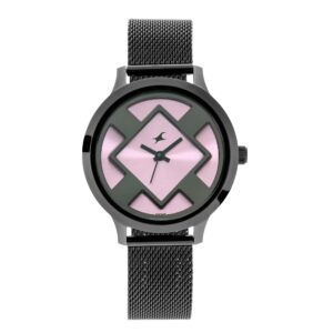 Fastrack Eccentrics Watch –  Pink  dial and Mesh Metal Strap 6210NM02