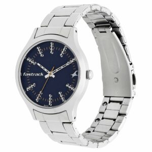 Fastrack Blue Dial Stainless Steel Strap Watch 6180SM02