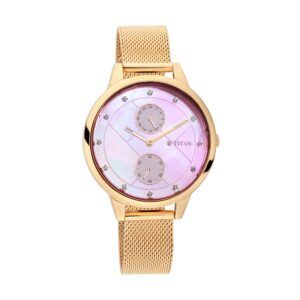 Titan Sparkle II Pink Mother of Pearl Dial Leather Strap Watch 2617WM04